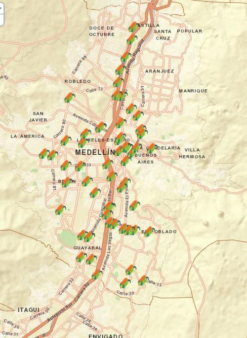 Mapa de las fotomultas. Tomado de www.medellin.gov.co/transito/mapa_camaras_fotodeteccion.html