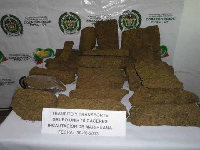 marihuana1 En la vía Tarazá Caucasia: Capturan un hombre con 20 mil gramos de marihuana