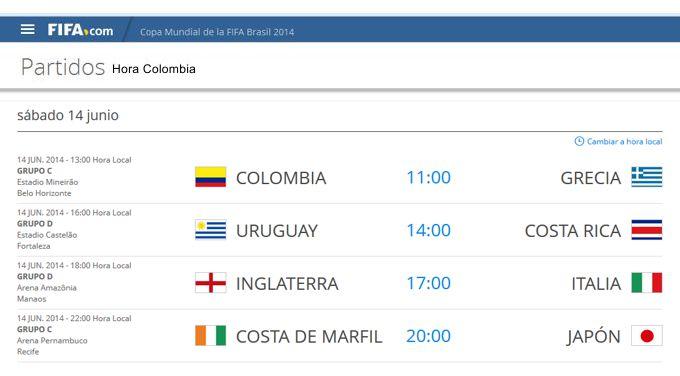 los partidos de hoy 14 de junio en horario colombiano