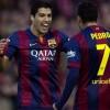 Luis Suárez celebra su primer gol con el Barcelona. Foto: EFE
