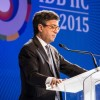 El presidente del Banco Interamericano de Desarrollo (BID), Luis Alberto Moreno, ayer, pronuncia un discurso en la Cumbre de Negocios Latinoamérica y el Caribe y Corea del Sur, con el que se abrió la segunda jornada de la reunión anual del BID en Busán. EFE
