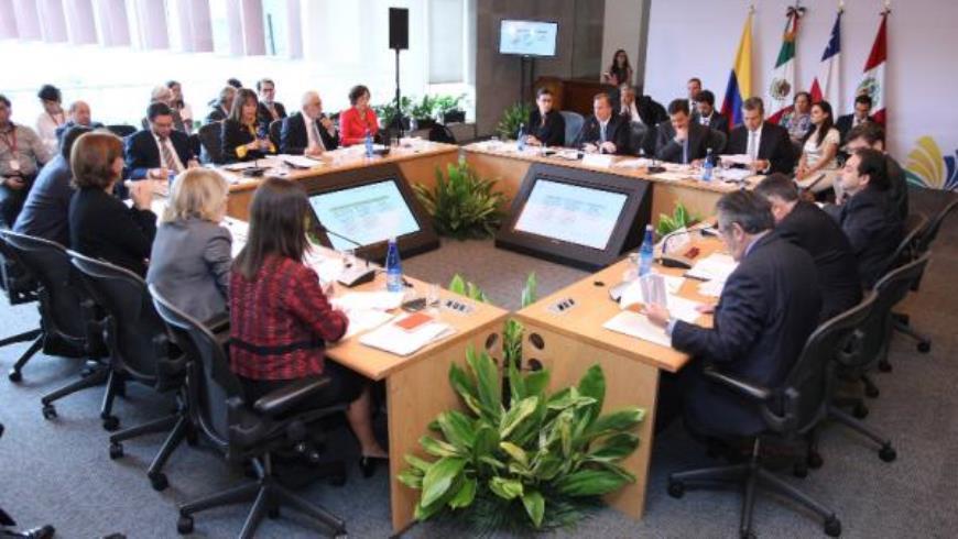 Vista general de la reunion de los ministros y viceministros de la Alianza del Pacífico, compuesta por México, Chile, Colombia y Perú, durante su reunión hoy , jueves 30 de abril de 2015 en Ciudad de México. EFE.