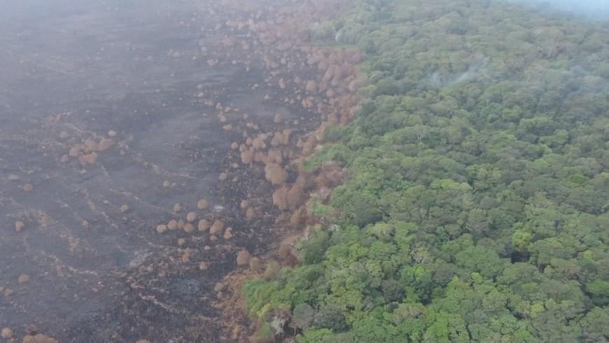 Vista aérea de la magnitud del incendio en Urabá. Foto: Gobernación de Antioquia.