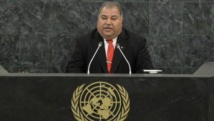 El presidente de Nauru, Baron Waqa, pronuncia su discurso en la Asamblea General de Naciones Unidas. EFE/Archivo