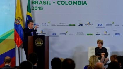 Los presidentes Juan Manuel Santos y Dilma Rousseff hablaron este viernes en la clausura del Encuentro Empresarial Colombia-Brasil, que se llevó a cabo en la Cámara de Comercio de Bogotá. Foto: SIG.