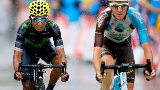 Nairo Quintana, durante la penúltima etapa del Tour de Francia. EFE