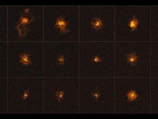 Mosaico facilitado por el Observatorio Austral Europeo (ESO), que muestra 18 de los 19 cuásares observados por un equipo internacional de astrónomos, liderado por el ETH Zúrich (Suiza), que ha descubierto brillantes nubes de gas alrededor de cuásares distantes, revelación que se opone con los modelos actuales aceptados sobre la formación de las galaxias. EFE