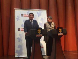 El fiscal general de la Nación, Néstor Humberto Martínez, y la vicefiscal María Paulina Riveros