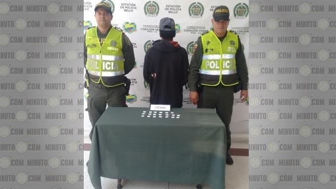 Capturado con cocaína en Bello.
