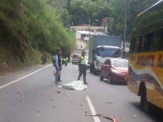 Motociclista muerto en la autopista Medellín-Bogotá.