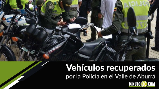 Vehículos recuperados en el Valle de Aburrá.