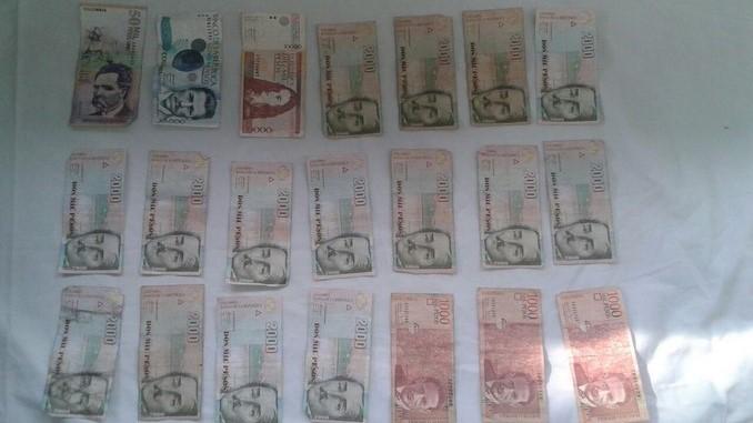Dinero incautado en San Javier.