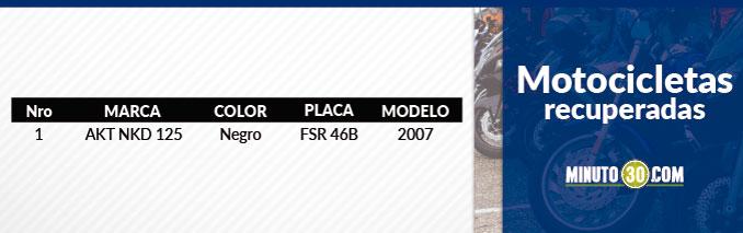 Moto recuperada en el Valle de Aburrá.