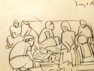 """Reproducción fotográfica de la obra """"Boceto de escena de Tehuantepec"""" de Diego Rivera, vista durante una presentación especial a la prensa de la exposición """"Diego, Frida y sus pasiones en Oaxaca"""" en Miami, Florida (EE.UU.). EFE/Giorgio Viera"""
