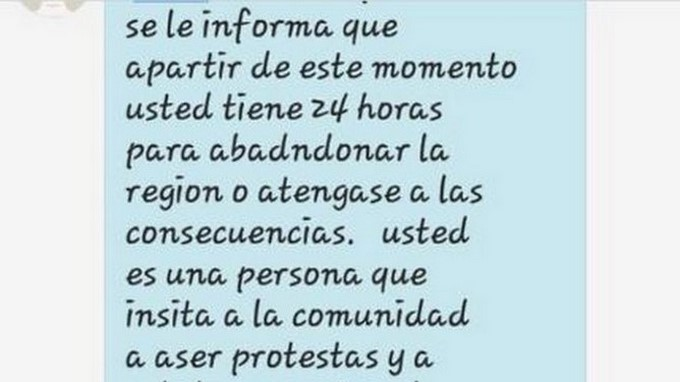 Amenaza lider social en Antioquia