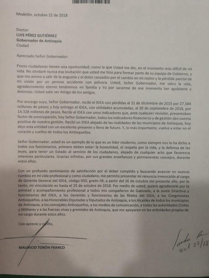 Mauricio Tobón Le Presentó Al Gobernador De Antioquia Su Carta De