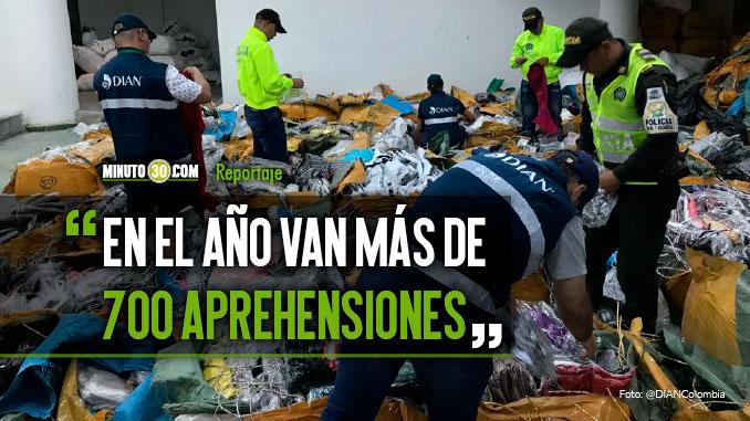 Ropa y calzado los elementos que mas se incautan en Medellin y Antioquia por contrabando