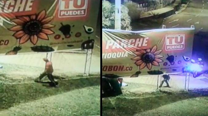 Sujeto intenta robarse una valla de Mauricio Tobon candidato a la Gobernacion de Antioquia