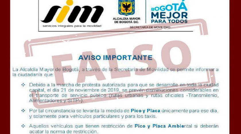 Desmienten pico y placa en paro en Bogota