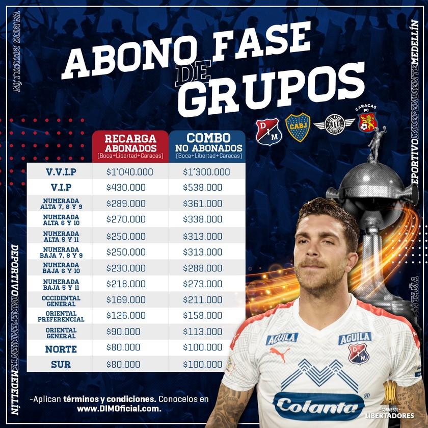 Precios boleteria y abonos fase de grupos Copa Libertadores
