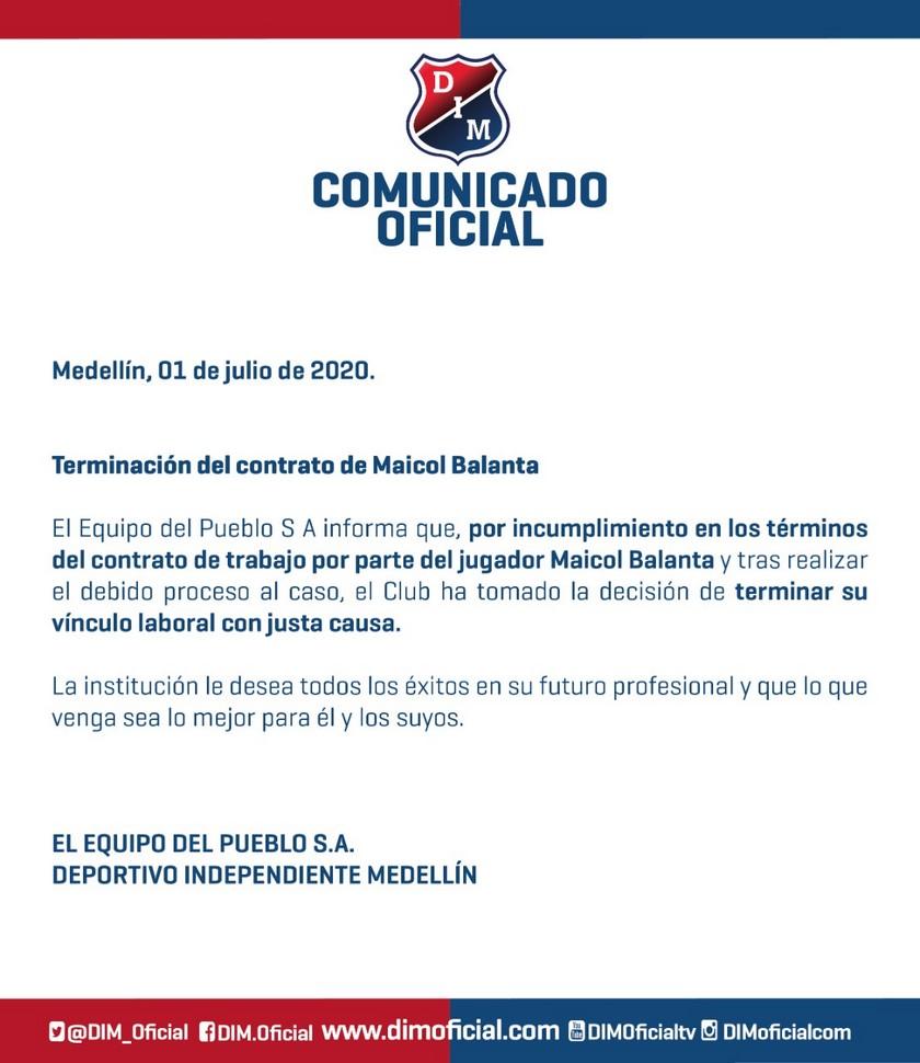 A jugador de Independiente Medellín le terminaron contrato por justa causa 1