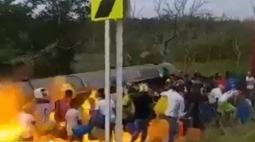 Menores en explosión del camión en tasajera