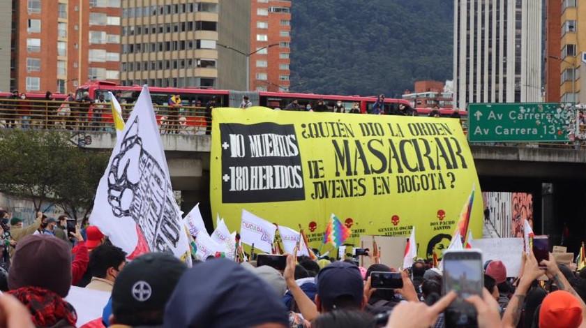 Manifestacion en la ciudad de Bogota