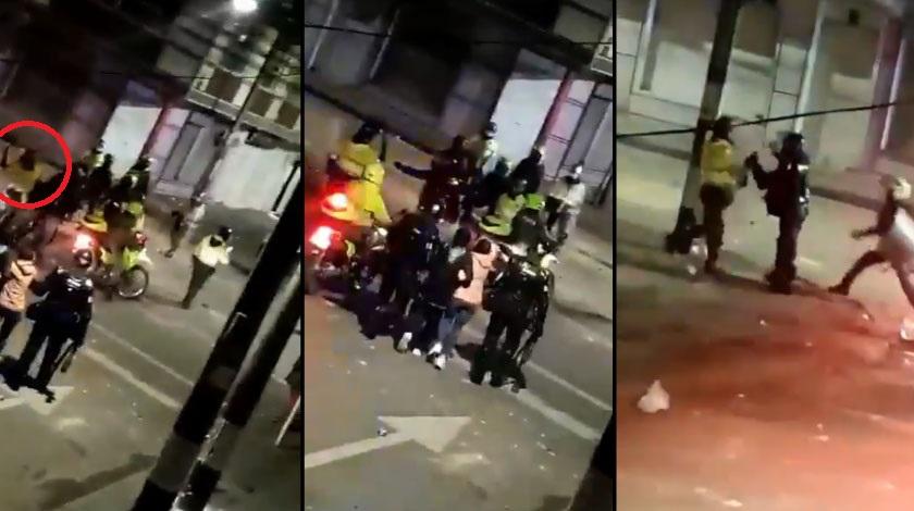 Policia se agarra con Esmad por pegarle a un detenido Bogota