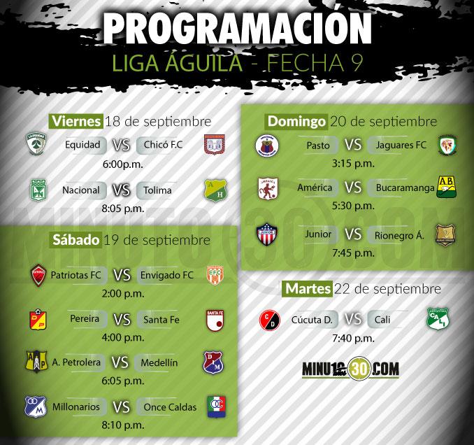 Programación fecha 9 de la Liga