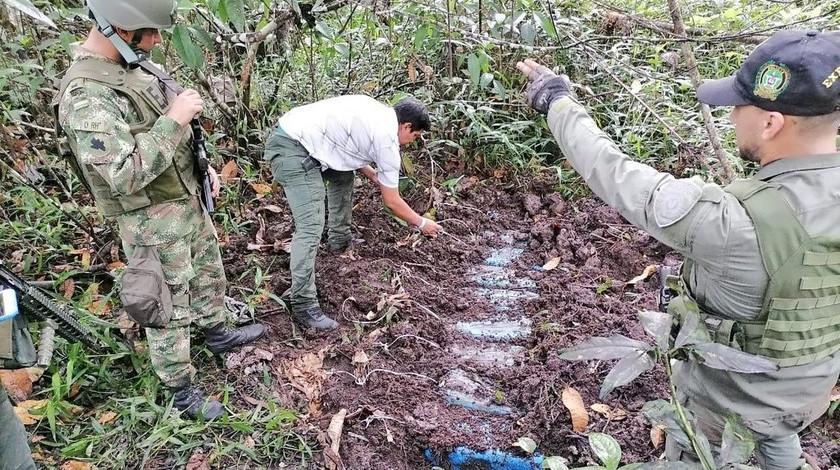 Deposito de explosivos hallado en el municipio de Tumaco Narino