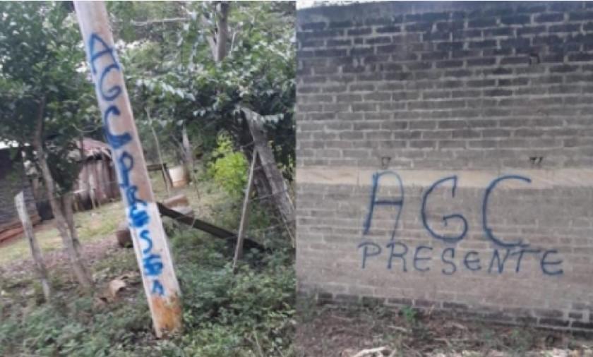 Paredes grafitis del Clan del Golfo Cordoba Monteria 1