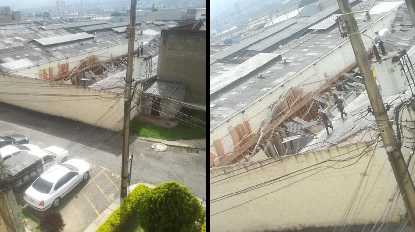 Se cayo el techo de una empresa en Itagui