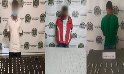 Estos tres se dejaron pillar en Aranjuez, Santa Cruz y Villa Guadalupe con bazuco y marihuana